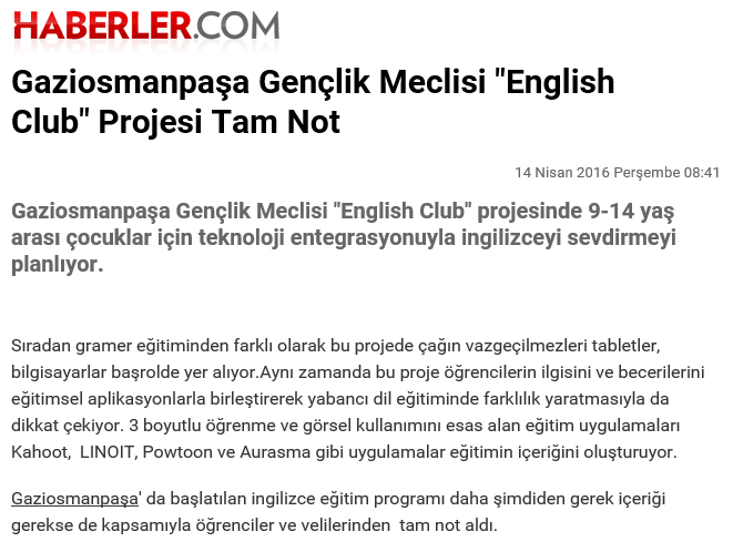 English Club Projesine Tam Not